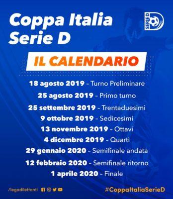 Calendario Gennaio 2020.Serie D Coppa Italia Si Parte Domenica 18 Agosto Il Calendario